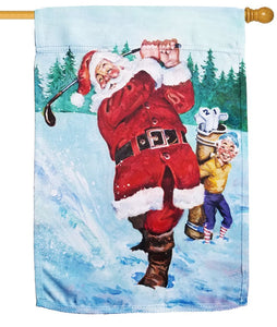 Snow Golfing Santa Sublimated House Flag