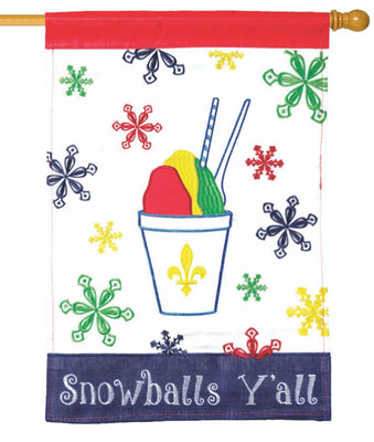 Snowballs Y'all Double Applique House Flag