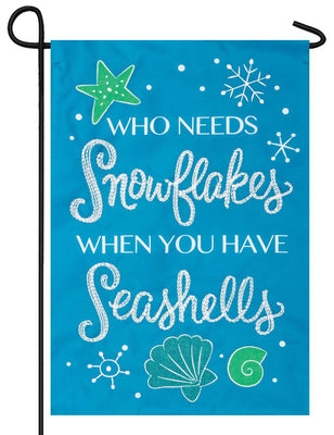 Snowflakes and Seashells Double Applique Garden Flag