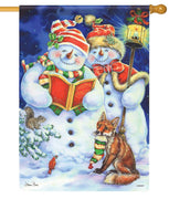 Snowman Christmas Carols House Flag
