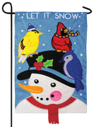 Snowman and Birds Double Applique Garden Flag