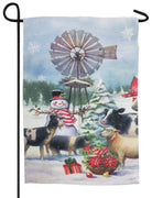 Snowman and Farm Friends Suede Reflections Garden Flag