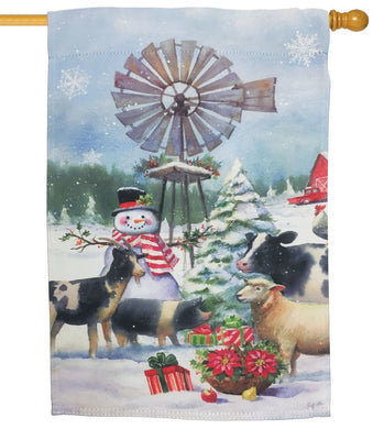Snowman and Farm Friends Suede Reflections House Flag