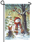 Snowman in the Forest Garden Flag