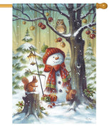 Snowman in the Forest House Flag