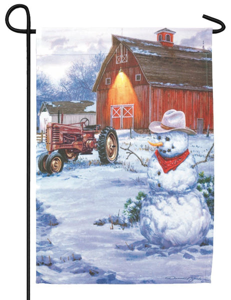 Snowman on the Farm Garden Flag