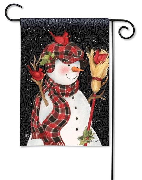 Snowman With Broom Garden Flag - I AmEricas Flags