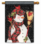 Snowman With Broom House Flag