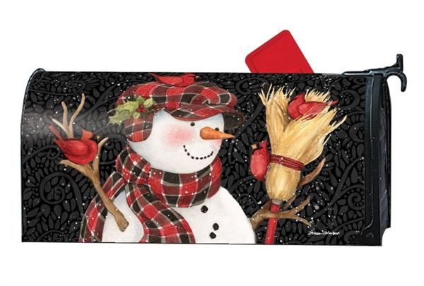 Snowman With Broom OVERSIZED Mailbox Cover