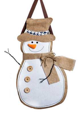 Snowman Decorative Burlap Door Hanger