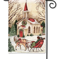 Snowy Christmas Country Church Garden Flag