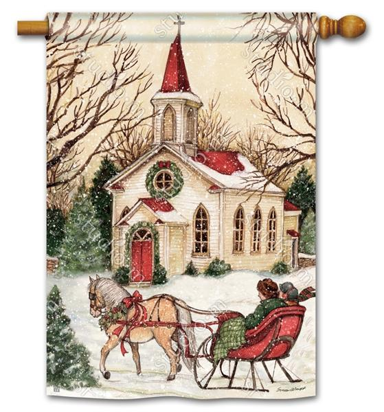 Snowy Christmas Country Church House Flag - I AmEricas Flags