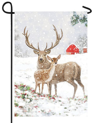 Snowy Deer Pair Garden Flag