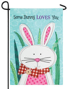 Some Bunny Loves You Double Applique Garden Flag