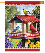 Songbirds Bird Feeder House Flag