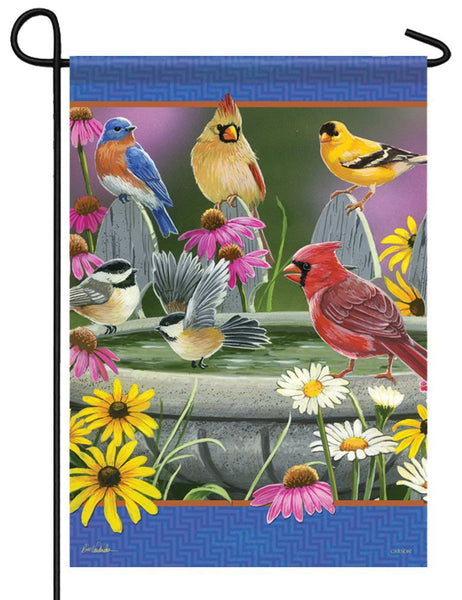 Songbirds Birdbath Gathering Garden Flag