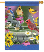 Songbirds Birdbath Gathering House Flag
