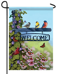 Songbirds and Welcome Post Garden Flag