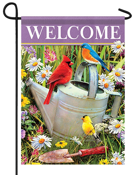 Songbirds and Watering Can Garden Flag