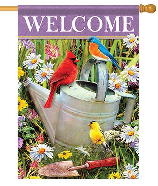 Songbirds and Watering Can House Flag