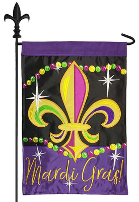 Sparkling Mardi Gras Double Applique Garden Flag