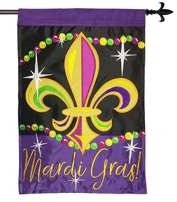 Sparkling Mardi Gras Double Applique House Flag