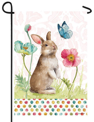 Spring Bunny and Flowers Garden Flag