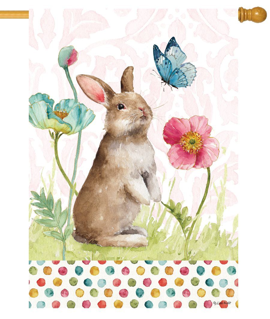 Spring Bunny and Flowers House Flag