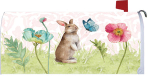 Spring Bunny and Flowers Mailbox Cover