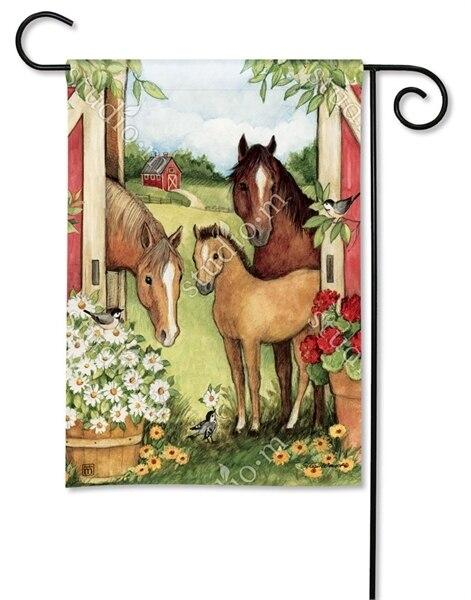 Springtime Horses on the Farm Garden Flag - All Decorative Flags/Themes/Animal Flags/Horse Flags - I AmEricas Flags