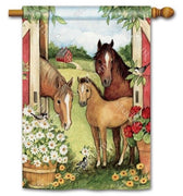 Springtime Horses on the Farm House Flag