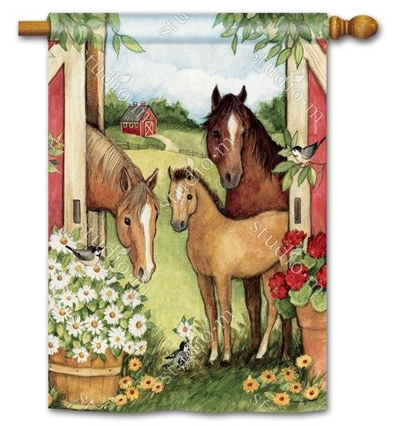 Springtime Horses on the Farm House Flag - All Decorative Flags/Themes/Animal Flags/Horse Flags - I AmEricas Flags