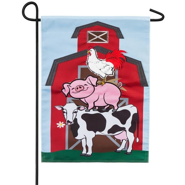 Stacked Farm Animals Applique Garden Flag