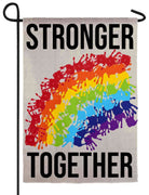 Stronger Together Rainbow Suede Reflections Garden Flag