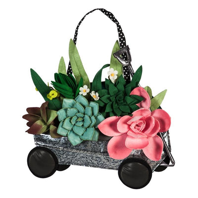 Succulents Galvanized Wagon Decorative Door Hanger