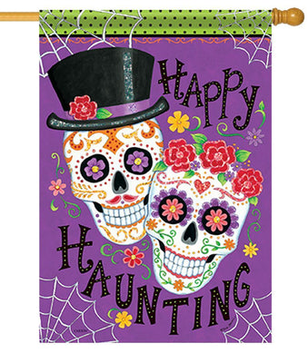 Sugar Skulls Couple House Flag