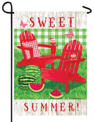 Summer Adirondacks and Watermelon Garden Flag