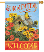 Summertime Welcome House Flag