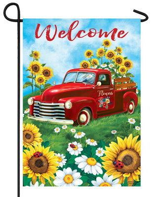 Sunflower Pickup Truck Garden Flag