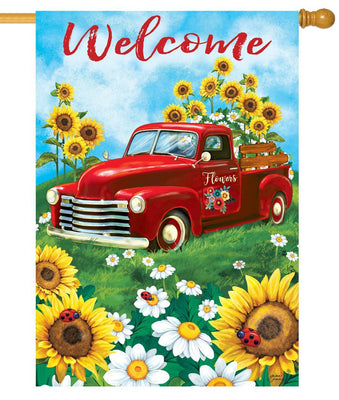 Sunflower Pickup Truck House Flag