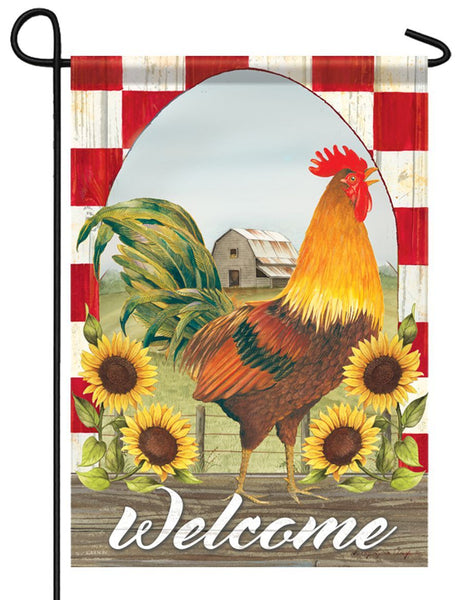 Sunflower Rooster Garden Flag