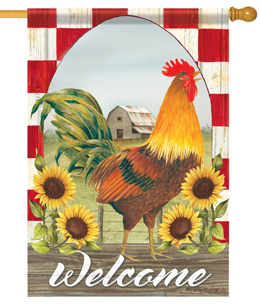 Sunflower Rooster House Flag - All Decorative Flags/Themes/Bird Flags/Roosters and Chickens - I AmEricas Flags