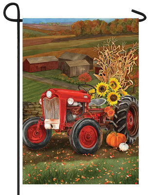 Sunflower Tractor Garden Flag