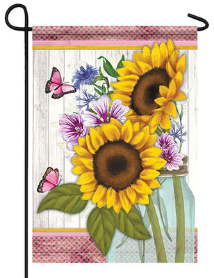 Sunflowers and Butterflies Garden Flag