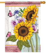 Sunflowers and Butterflies House Flag