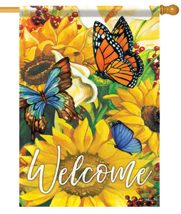 Sunflowers and Butterflies Welcome House Flag