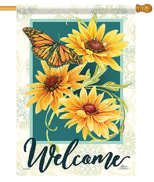 Sunflowers and Butterfly Welcome House Flag