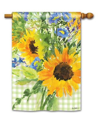 Sunflowers on Gingham House Flag