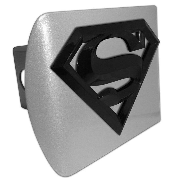 Superman Black 3D Brushed Chrome Hitch Cover - Chrome Car Emblems | Trailer Hitch Covers/DC Comics Emblems - I AmEricas Flags