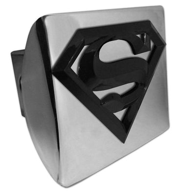 Superman Black 3D Shiny Chrome Hitch Cover